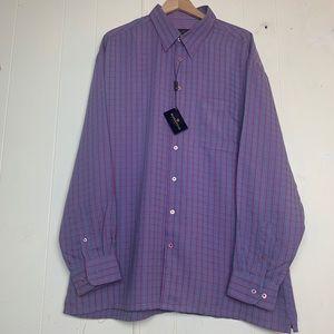 Bugatchi Shirts - Bugatchi Uomo Baja Blue & Pink Plaid Long Sleeve